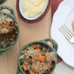 Arroz 7 grãos com abóbora, cebola queimada e queijo gratinado