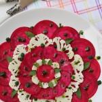 Carpaccio de beterraba com couve flor e molho pesto (sem leite)