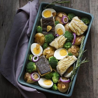 Bacalhau no forno com batatas ao murro